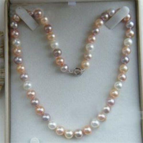 Charmant collier de perles multicolores Akoya de 7 à 8 mm