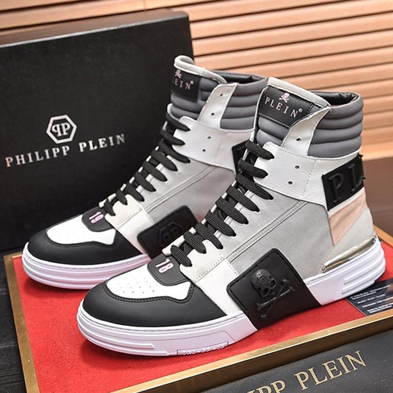 Moda Mens Botas sapatos respirável Tenis calçado macio Platform Tendência Fantasma pontapé $ Hi-Top couro Mix sapatos casuais mens Q78 Bottes Hommes