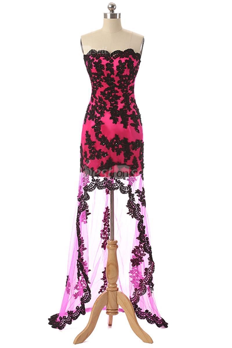 En Stock Pas Cher Robe Homecoming High Fordu Fuchsia Sans Bretelles Cocktail Cocktail Cocktail Gowns 100% réel Image 2020 SD061FU pas cher