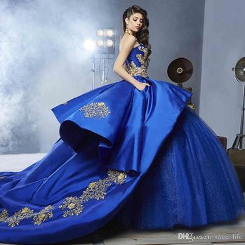 Royal Blue Ball vestido de quinceañera vestidos cariño bordado apliques rebordear oro satinado tul de lujo dulce 16 vestidos de tren de barrido