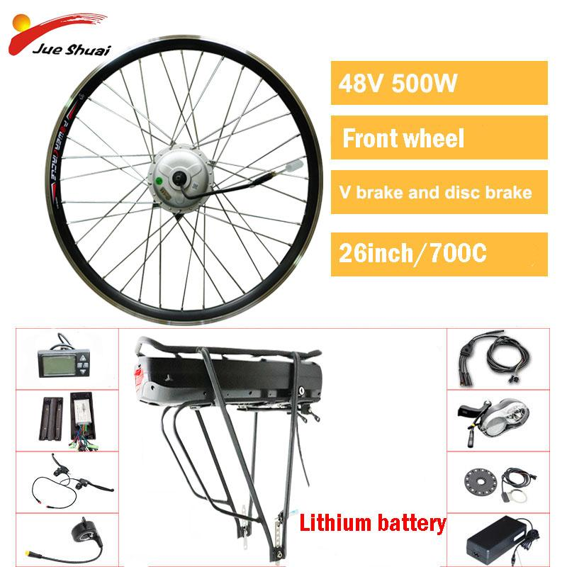 "48V 500W BAFANG front Motor Wheel Electric Bike Kit for 26""700C Hub Motor LCD display electric bicycle Kit bicicleta eletrica"