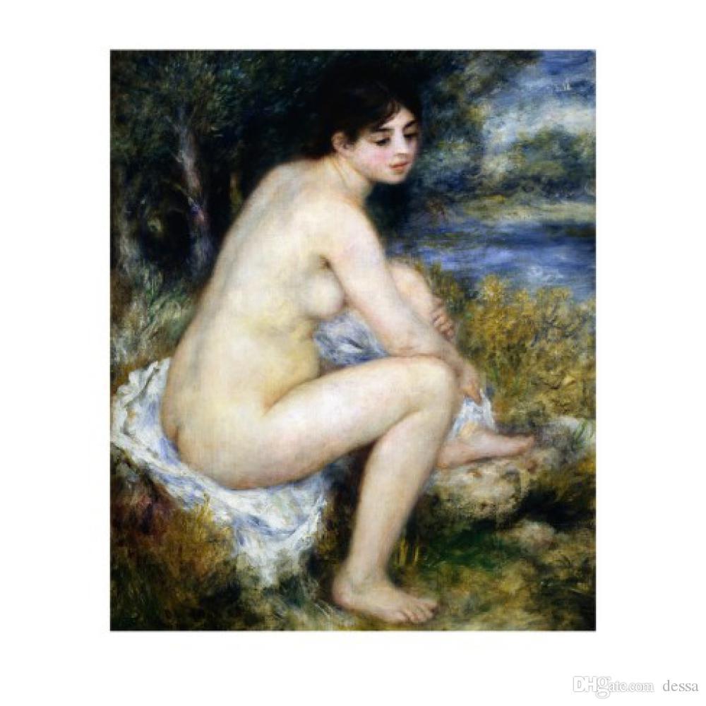 Impressionismo olio di paesaggio di arte pittura donna si spoglia Seduto in un'opera d'arte moderna di paesaggio per la decorazione camera da letto regalo