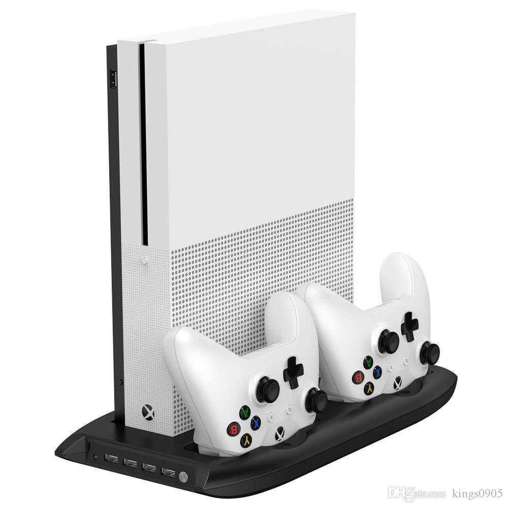 4 in 1 vertikaler Ständer für die Xbox one S mit 4 USB-Anschlüssen Hub + Lüfter + Controller-Ladestation für die Xbox one Slim-Spielekonsole