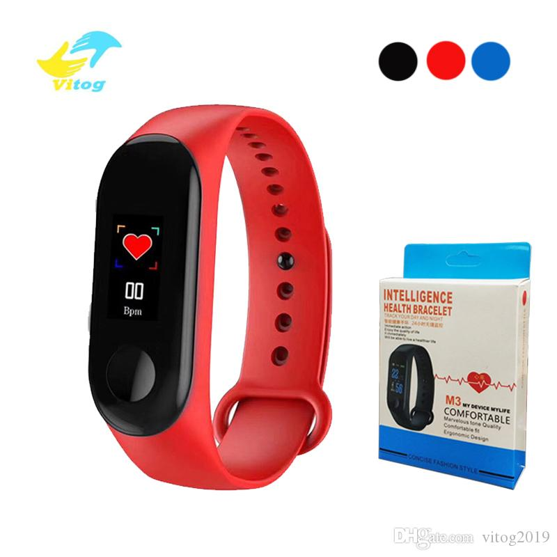 Vitog M3 intelligent Bracelet Moniteur de fréquence cardiaque Fitness Tracker Wristband chargeur USB de pression artérielle Sport intelligent Band 3 avec le paquet