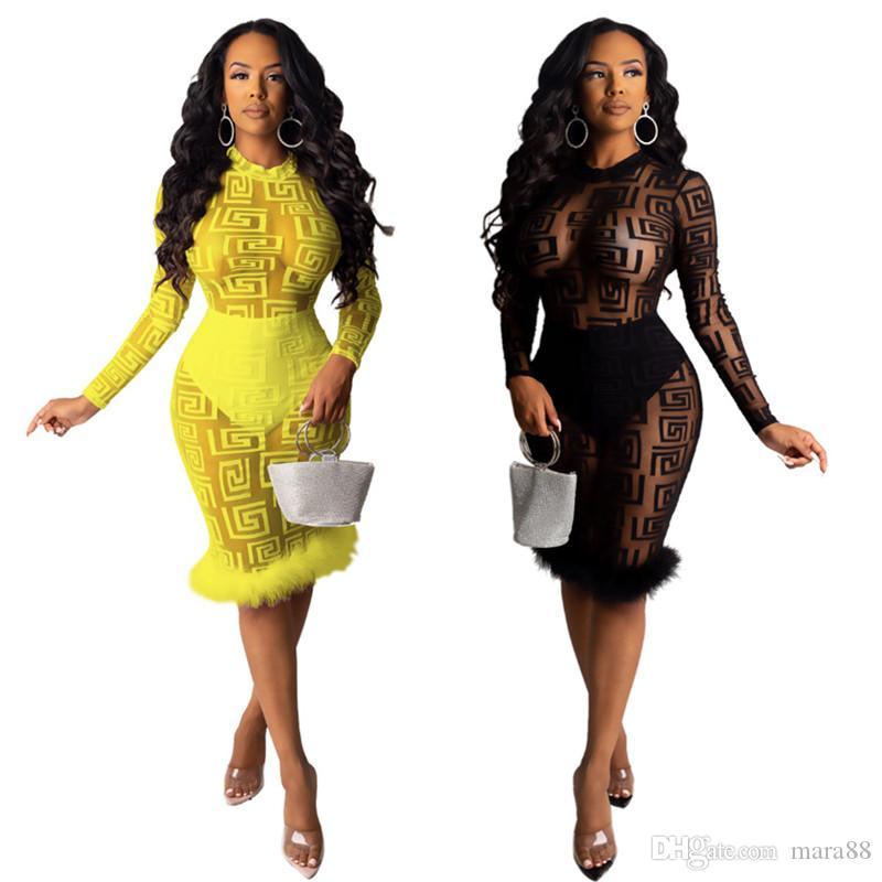 Kadınlar dantel BODYCON elbiseler düz renk kadın yaka uzun kollu elbise ücretsiz gönderim 2545 clubwear sırf mini etek moda örgü seksi