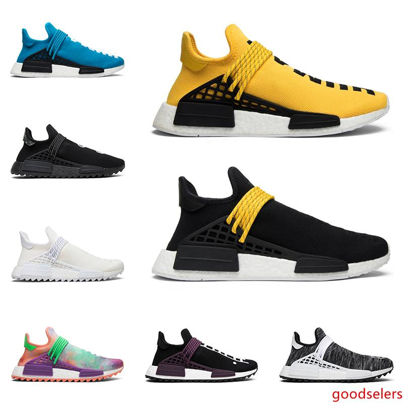 2019 race humaine chaud Pharrell Williams hommes femmes chaussures de course NERD Blank baskets en toile formateurs hommes jaunes coureurs de mode de sport