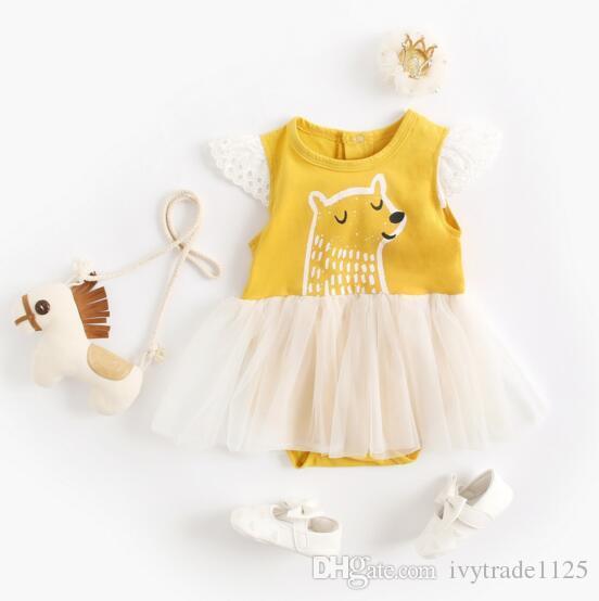 아기 아이 디자이너 옷 Romper 플라잉 민소매 레이스 베어 인쇄 노란색 Romper 옷 100 % 코 튼 여자 rompers 0-2T