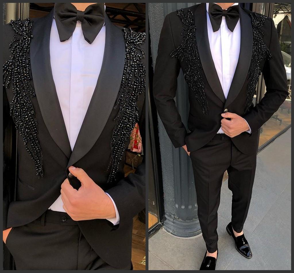 Yakışıklı Erkek Takımları Lüks Boncuk Parti 2 adet Damat Düğün Smokin Sağdıç Balo Blazer Suit (Ceket Pantolon)