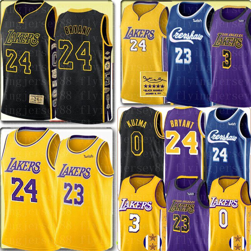 24 LeBron James 23 Bryant Trikot LosAngelesLaker Jersey NCAA Anthony 3 Davis Kyle 0 Kuzma Basketball-Trikots