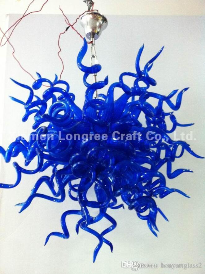 C72-Art Design Long Chain Decorative Hand Blown Glass Chandelier Light Modern Crystal LED Hanging Glass Pendant Lamp for Hotel Decor