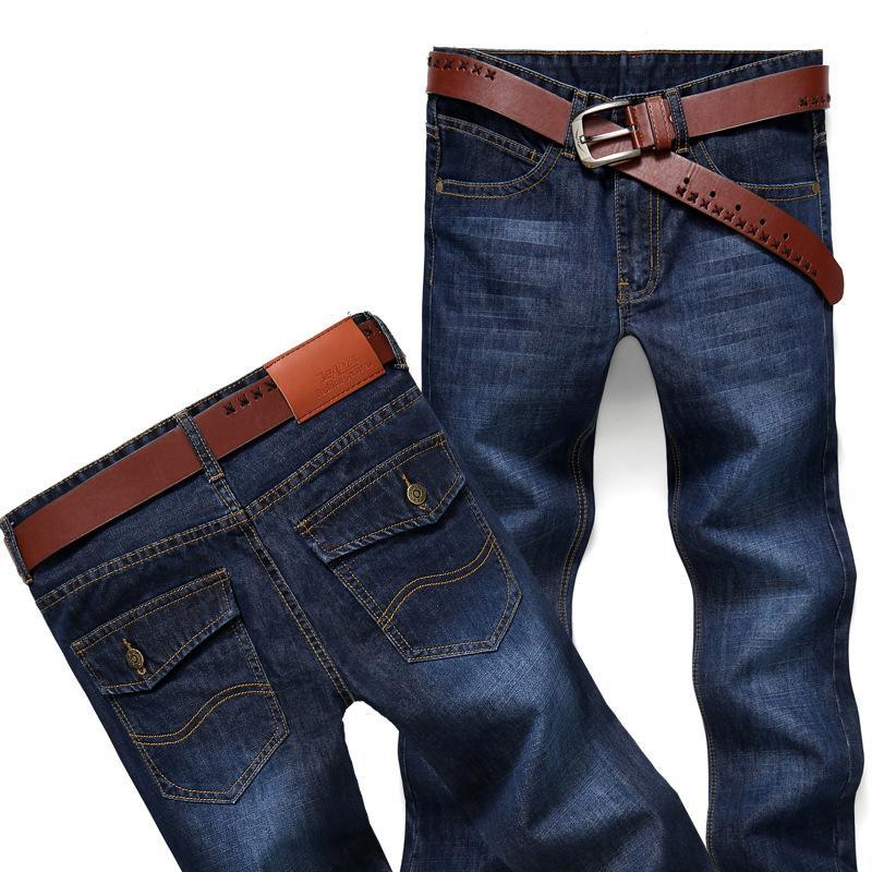Jeans de negocios de moda para hombres Tubo recto Pantalones vaqueros holgados de Moto Pantalones de mezclilla rectos de corte ajustado Pantalones desgastados Invierno