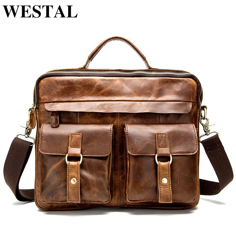 Men Bag Crossbody Bags Totes Leather Handbags Messenger Laptop Bag Leather Shoulder Bags Men Briefcases 8001L Red Brown
