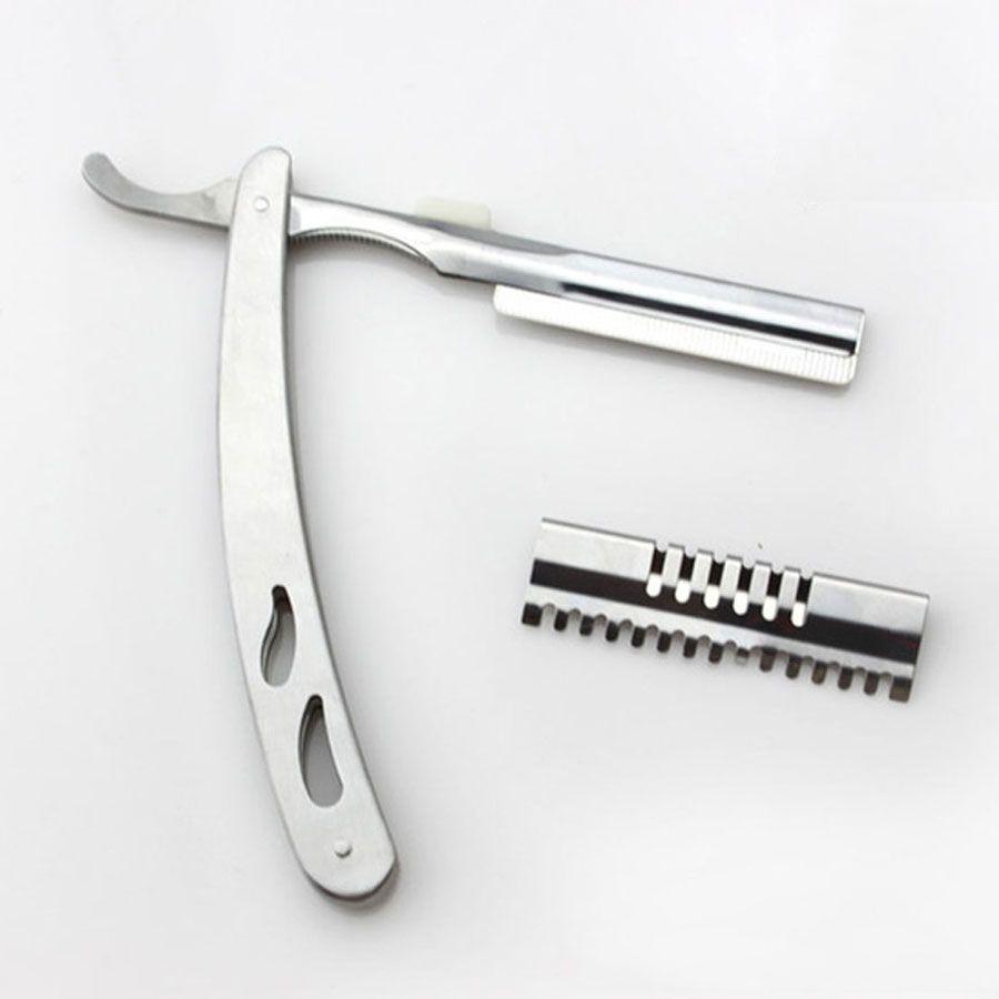 Acero inoxidable Unisex Profesional portátil Afiladísimo duradero corte de pelo Cuchillo hombres cómodos de plata manual máquina de afeitar maquinillas de afeitar DH0849 T03