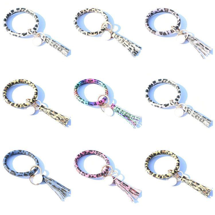 горячий Leopard браслет брелок кисточкой PU кожаный брелок Женщины Wristlet Keychains сумка Подвеска партия Фавор T2C5224