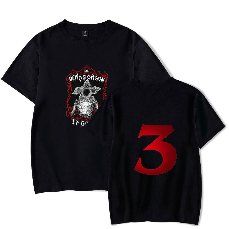POP Stranger Things Maglietta Eleven Dustin Stranger Things 3 Uomo T-shirt Estate Manica corta Demogorgon Divertente Maglietta Uomo Top