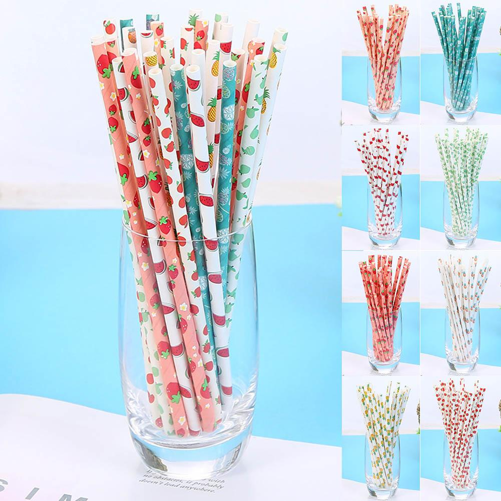25 Pcs Disposable Paper Straws Juice Drinking 197mm Safe for Home Wedding Party 2019ing