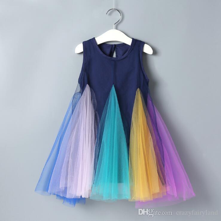 I bambini della neonata dell'arcobaleno Tulle Abito senza maniche carro armato del partito Abito da sposa Principessa infantili bambino Fancy Dress 1-6Y