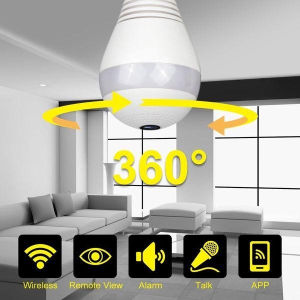 NUEVA nave de bulbo de EE.UU. Reino Unido Owlview luz inalámbrica Cámara IP Wi-Fi FishEye 960P 360 grados mini cámara CCTV VR, Bombilla LED de interior / exterior Lightin