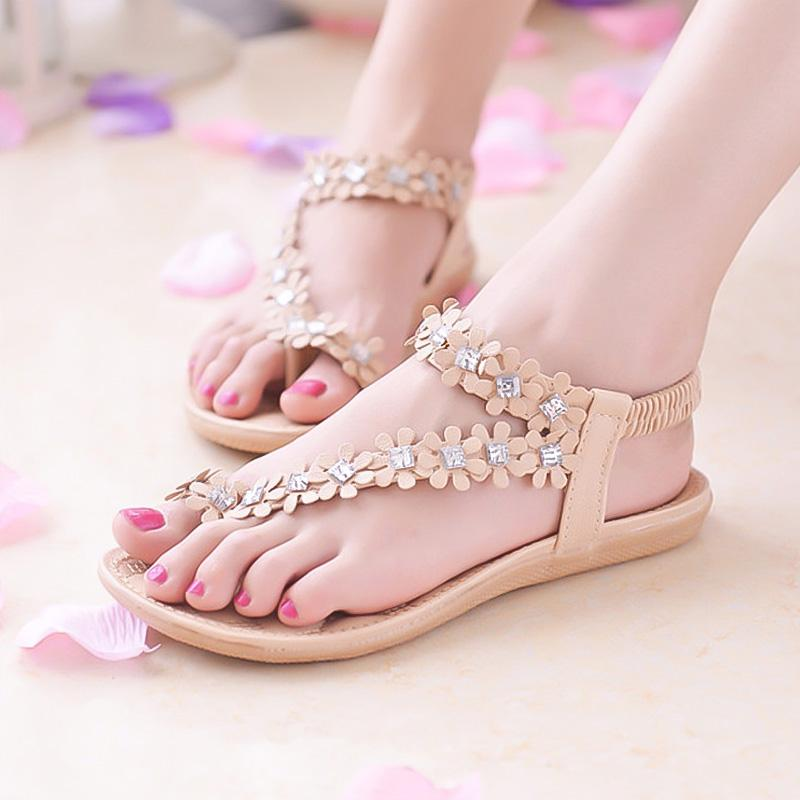 Women Sandals Summer Beach Roman Sandal Ladies Open Toe Flat Sandal,Green,38,China