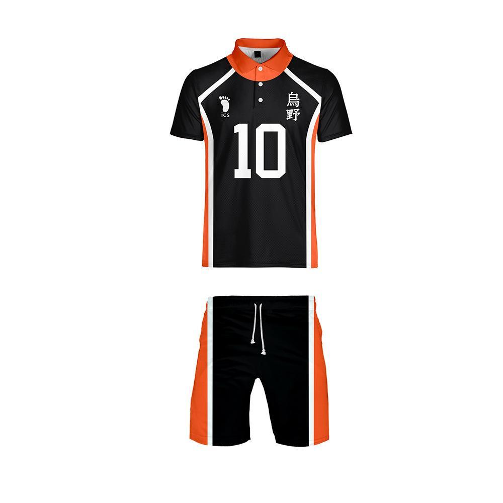 Anime Haikyuu Cosplay Kostüm Karasuno Lisesi Voleybol Kulübü tişört ve şort Kıyafet Casual Spor Formalar Üniforma