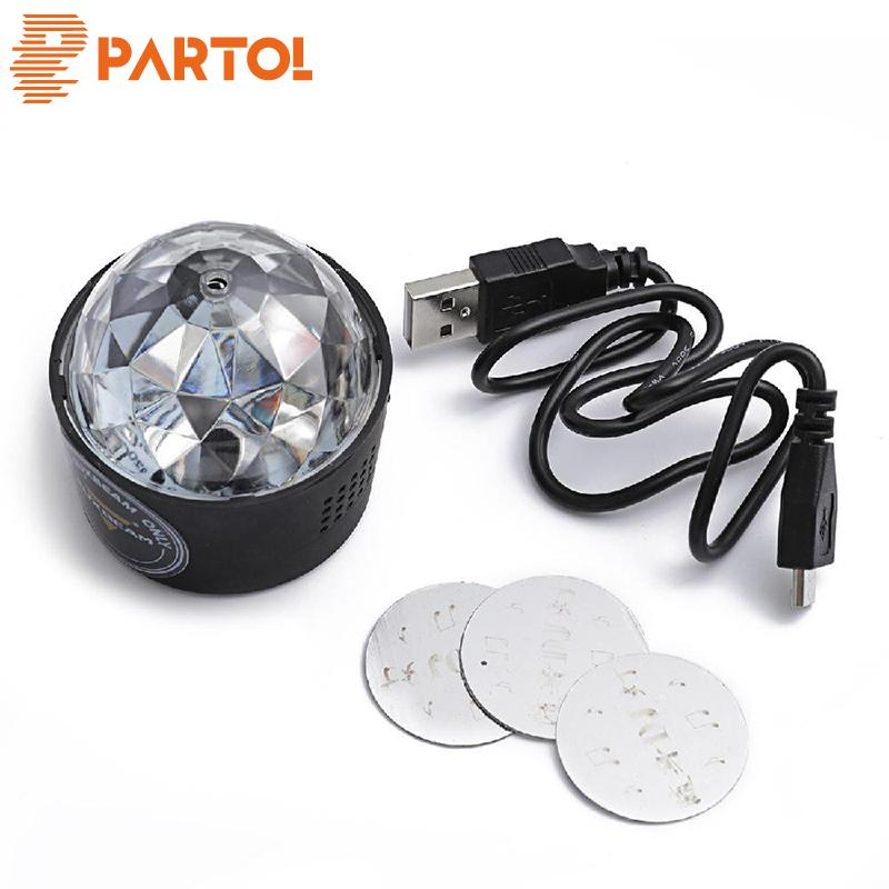 Partol Universal Mini Car SUV Interior RGB LED Music DJ Disco Atmosphere Light With Magnetic Base USB Changer 5V Car Interior
