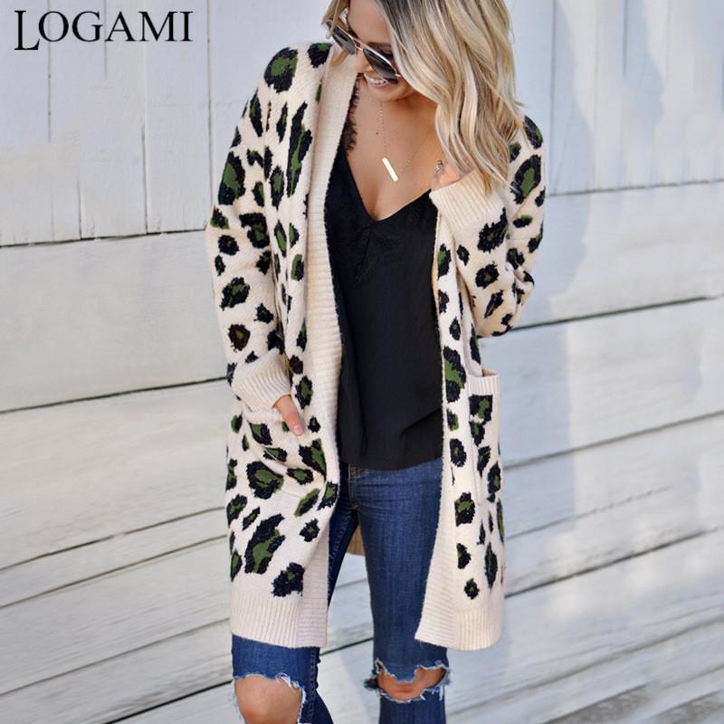 Manga larga LOGAMI leopardo Cardigan Mujeres larga de los suéteres de moda Otoño Invierno 2019 Escudo Mujeres