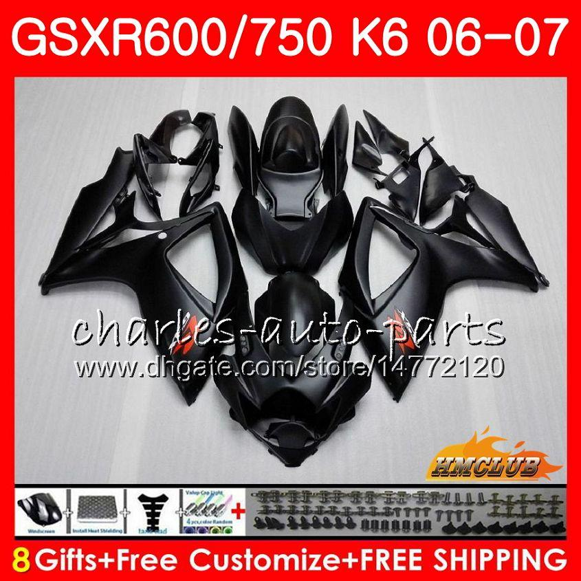 Suzuki GSX R600 GSX R750 GSXR600 2006 2007 문제 Black 8HC.10 GSX-R600 GSXR-750 K6 GSXR 600 750 06-07 GSXR750 06 07 페어링 키트