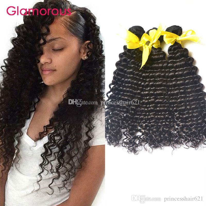 Glamorous Brasilian Hair Tronco Color natural 8-34 pulgadas peruanas Indias Malasia Indio Rizado Extensiones 3pcs Peluquería virgen para mujeres negras
