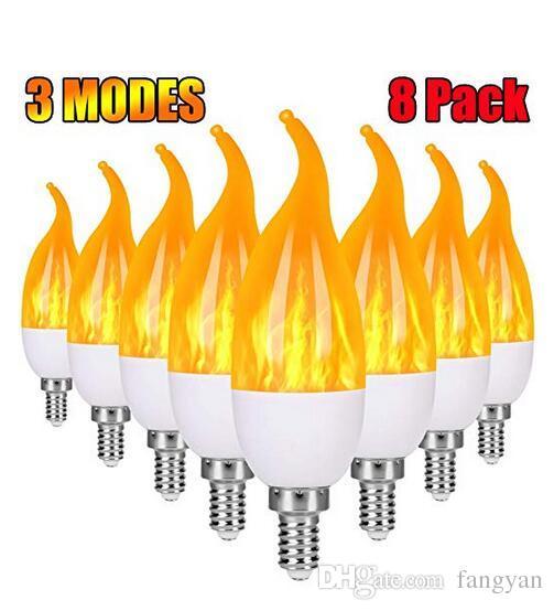 E12 Flammenbirne LED Candelabras Glühbirnen, 1.2 Watt warmweiß LED-Kronleuchter-Zwiebeln, 1800K 3-Mode Kerze-Glühlampen, Flammenspitze (10Pack)