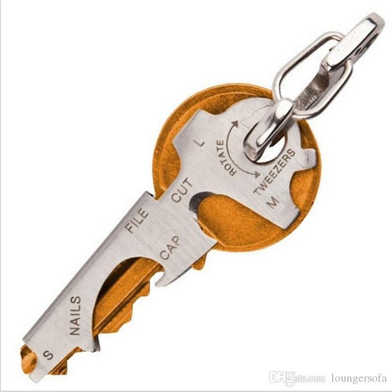 أداة الفولاذ المقاوم للصدأ هانغ مشبك متعدد الوظائف أسود فضي مفتاح سلسلة تحمل على مفاتيح الكبار حامل حار بيع 2zcD1