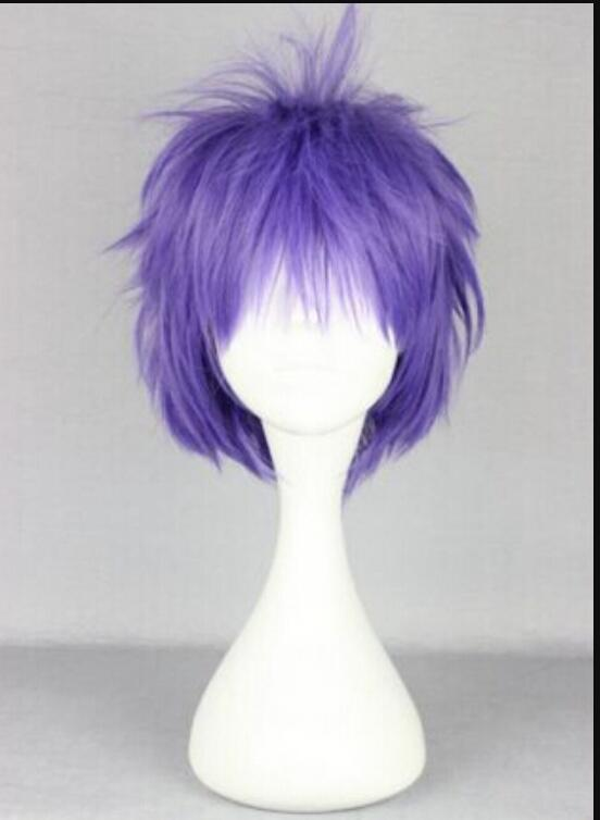 WIG 1109+++ Great Synthetic Hair Heat Resistant 30cm Short Blue Purple Anime Cosplay Wig