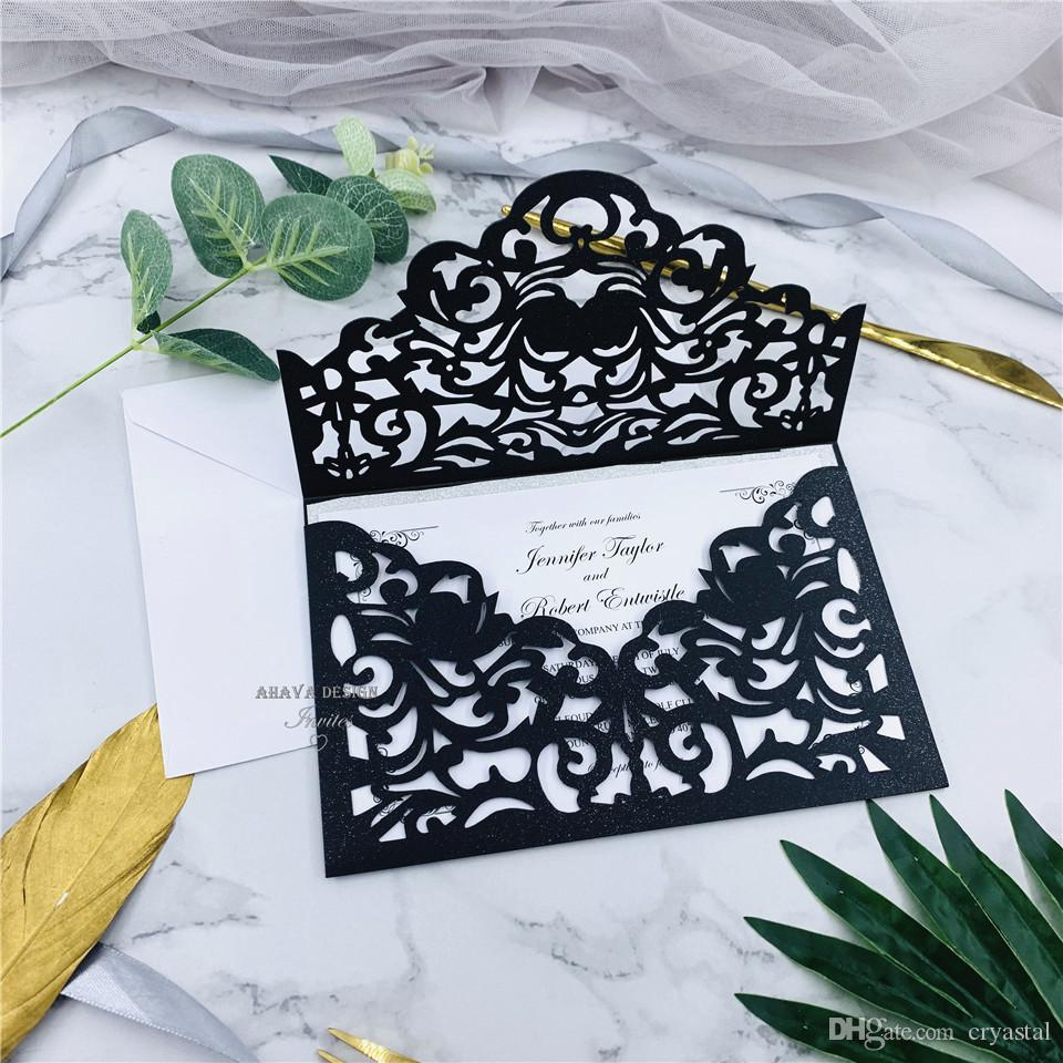 Cordially Inviting - Black Shimmer Laser Cut Sleeve With Classic Invitation And Glittery Backer, Personal Laser Cut Wedding Invites