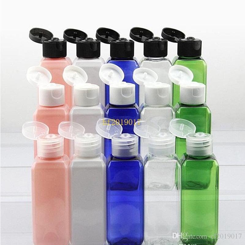 300 adet 50 mL (1 2/3 oz) çeşitli renk Dolumu Plastik pet şişe Kare örnek şişeler ile kolay kapak kap Toptan