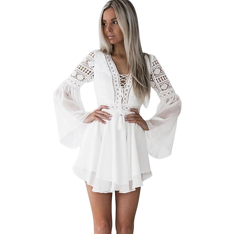 Sexy Women Mini Dress Criss Cross Bandage Lace Semi-sheer Hollow Out Dress Plunge V-neck Long Sleeve Black/white Chiffon Dress Y19071001