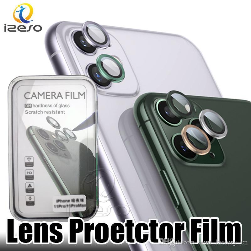 Perakende Paketi izeso iPhone 11 Serisi için Kamera Mercek Metal Koruyucu Kapak Cam Yüzük Film Lüks toz geçirmez çizilmeye karşı Len Case Arka