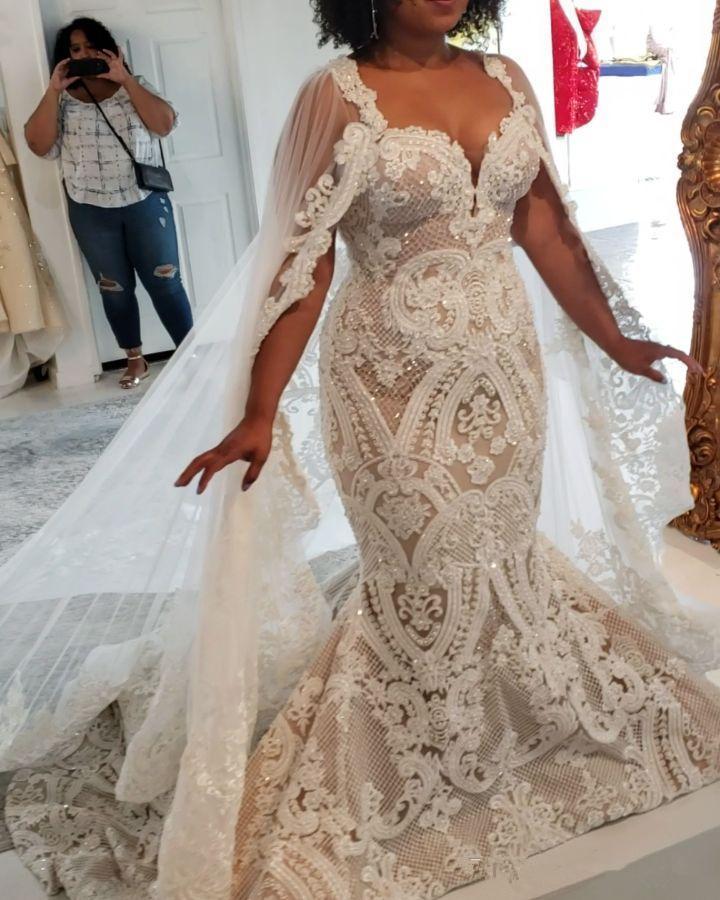 2020 Wunderschöne Country-Stil Meerjungfrau Brautkleider aus der Schulter Cathedral Zug Brautkleider mit Rüschen Brautkleid Vestidos de Novia