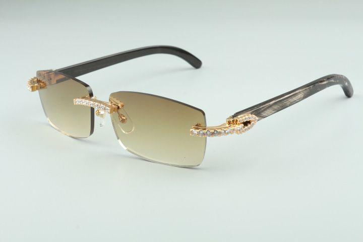 2021 Gli ultimi occhiali da sole da 3524012-16 diamanti, occhiali da sole naturali del corno di personalità modello nero, occhiali da sole da uomo e donne quadrato
