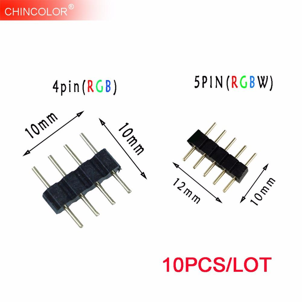 Connectors 10PCS 4 Pin 5Pin Needle RGB RGBW Connector Adapter Male Double Insert For RGB RGBW 5050 3528 LED Strip Light Long