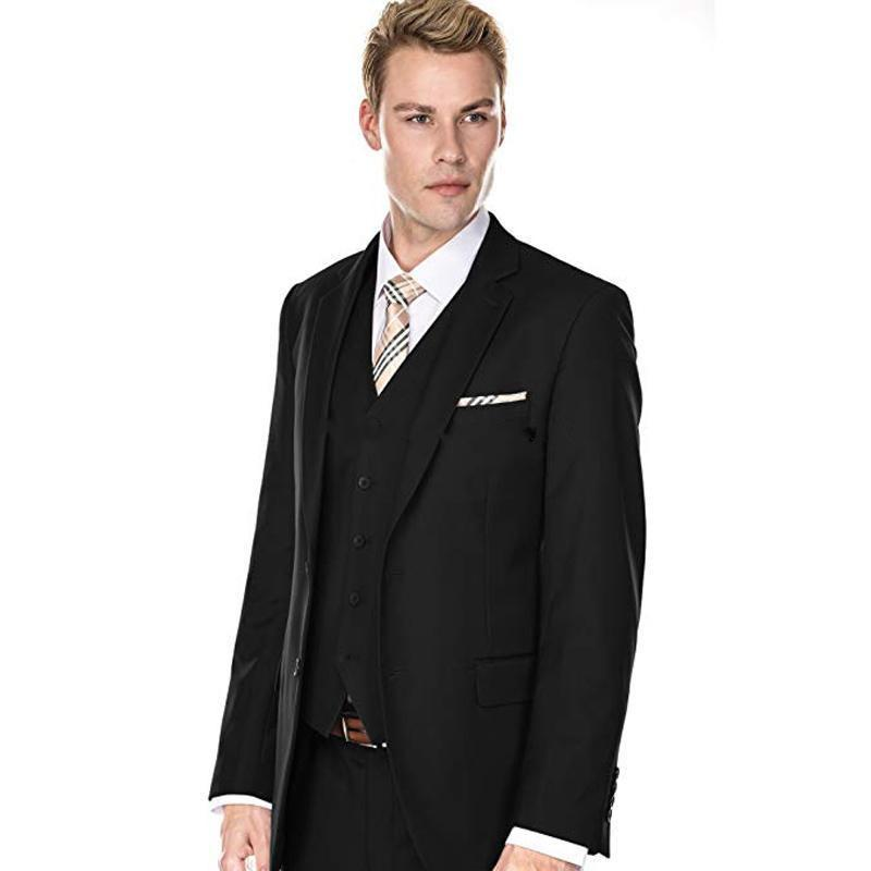 Novo Design de Dois Botões Casamento Preto Noivo Smoking Notch Lapela Groomsmen Mens Jantar Ternos Blazer (Jacket + Pants + colete + Gravata) 469