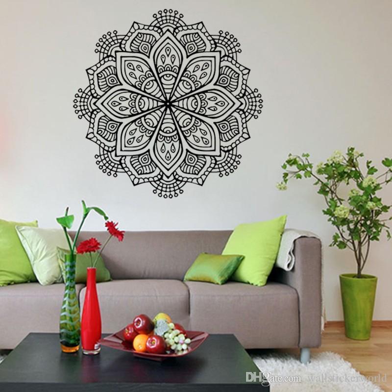 1 pezzi adesivi murali di arte buddista India Mandala adesivi rimovibili impermeabile decorazione della casa Soggiorno
