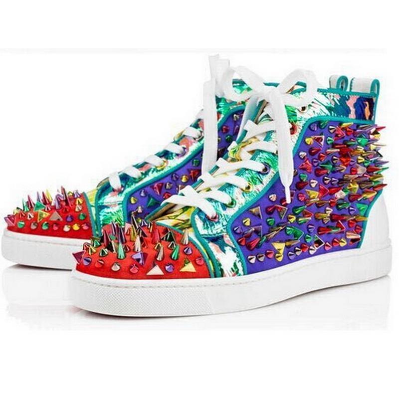 progettista Studded Spikes Red Bottoms Sneakers Uomo Donna nuova moda scarpe in pelle piatta high-top festa di nozze scarpe casual 35-47 C201