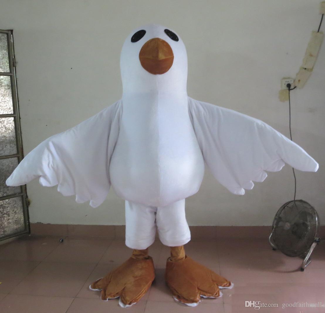 2018 Завод прямых продаж взрослого голубя голубя белой птица талисман костюм для взрослых, чтобы носить на продажу