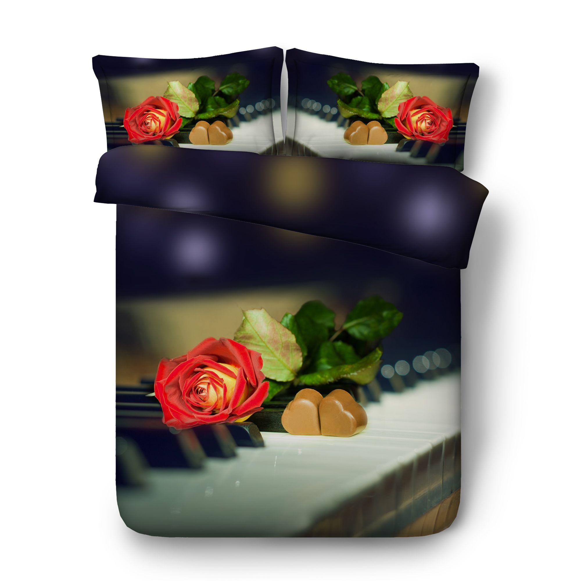 رومانسية الورود المفرش الوردي الزهور غطاء لحاف تعيين حب القلب لحاف المعزي يغطي بنات عرس مل 3pcs مجموعة مفروشات مع 2 وسادة شمس