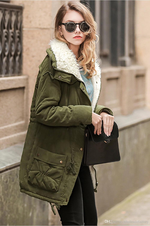 Exército Verde Jaqueta de Inverno Mulheres Nova Inverno Womens Parka Casual Outwear Casaco Mulheres Casaco Manteau Femme Mulher Roupas FS1915