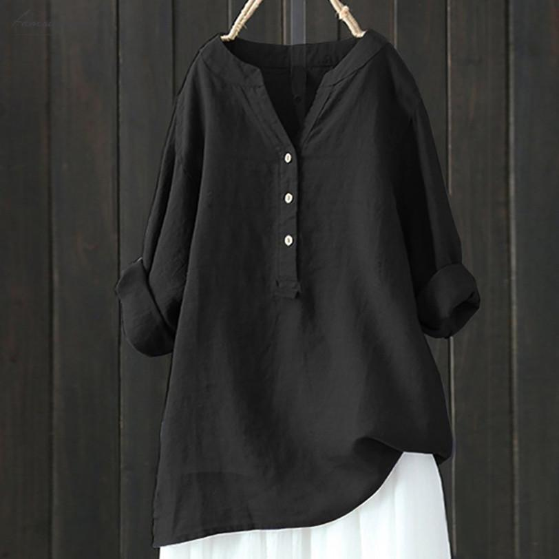 S 5L Plus Size Women Long Sleeve Shirt Casual Loose Blouse Solid Stand Collar Button Down Tops Ropa De Mujer