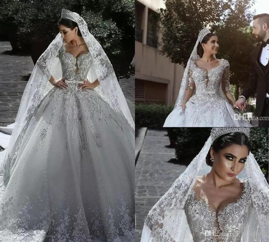 2019 New Luxuoso Frisado Árabe Vestido de Baile Vestidos de Casamento Glamourosa Meia Mangas Tulle Apliques de Frisada Lantejoulas Vestidos de Noiva Nupcial