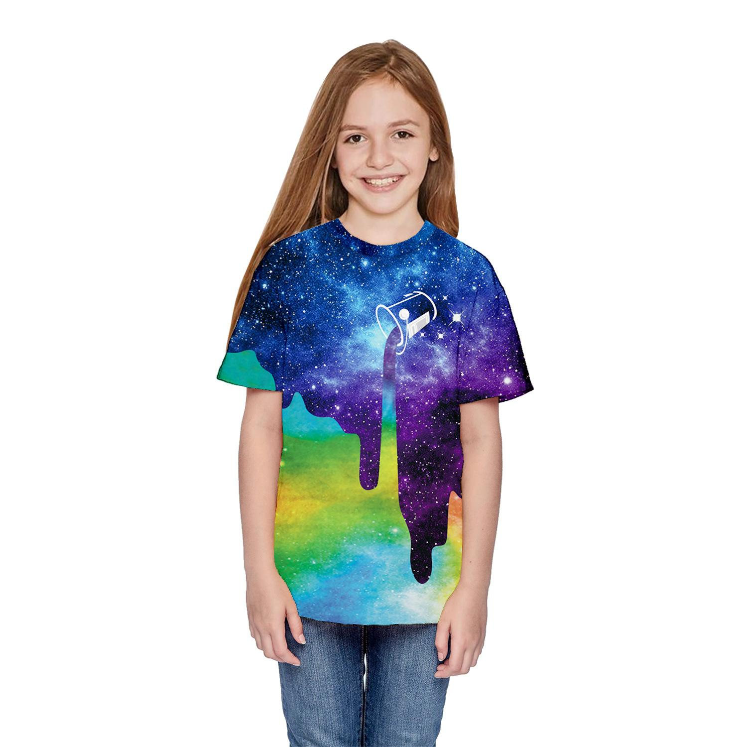 Wholesale of boys' 2019 summer t-shirts and girls' short-sleeved children's wear with starry sky digital printing