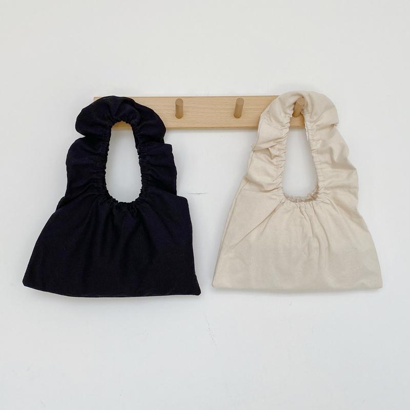 2020 핫 INS 여름 새로운 셔링 여성 토트 백 여성 프릴이 작은 핸드백 여성 디자이너 캔버스면 일본 청소년 손목 가방