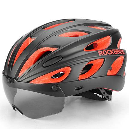 Commercio all'ingrosso bici di riciclaggio casco della bicicletta con Ultralight magnetica occhiali di protezione antivento Men integralmente modellata EPS MTB strada di guida della bicicletta Helm