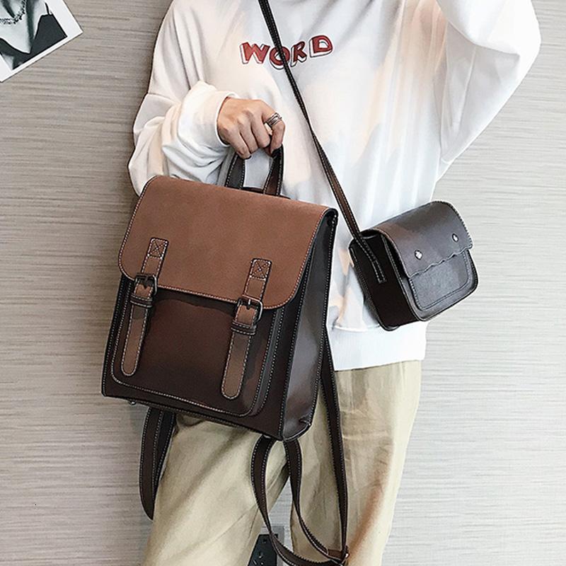 Mode 2 PCS / SET Leder-Frauen-Rucksäcke für Jugendliche weiblichen Back Pack großen Kapazitäts-Pu-reisenden Beutel Weinlese-Schultasche V191118